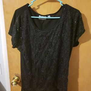 Avenue sequined short sleeve top